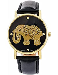 Zillion Golden Elephant Print Dial Black Strap Analog Watch For Women, Girls