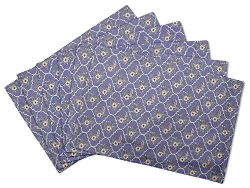 S4Sassy Violet Floral Damasse Set de Table réversible Tapis de Table réversible-16 x 18 Pouces-4 pièces