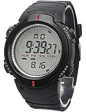 Unisex Herren Damen Sport LCD Datum Rubber Band Digital Outdoor Armbanduhr wasserabweisend, schwarz