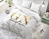 Bettwäsche Sleeptime Baumwolle Goodnight Gold, 200cm x 200cm, Mit 2 Kissenbezüge 80cm x 80cm, Weiß
