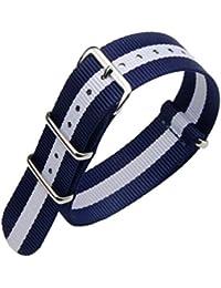 20 mm de una sola pieza correas de reloj de estilo de la NATO perlón nailon  azul   blanco de lujo de los hombres… 52203aabcba6
