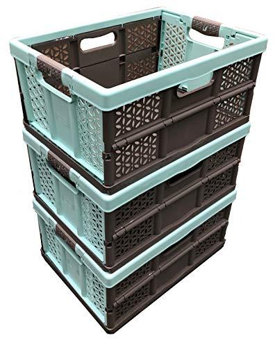 Aufbewahrungskisten, 32 l, extrastark, zusammenklappbar, Kunststoff, 30 kg Tragkraft pro Box, weiche Griffe, 3 Stück (Box 32 Plastic Storage Liter)