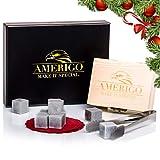 Luxus Whisky Steine Geschenkset von Amerigo - Set von Eiswürfel Wiederverwendbar - Geschenkset Männer - Whisky Kühlsteine - Whiskey Stones - Geschenk für ihn mit Edelstahl Zange und Untersetzer