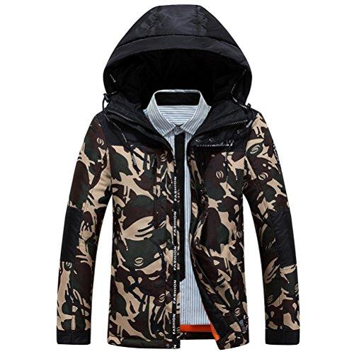 Brinny–Piumino con cappuccio military uomo invernale giacca Parka cappotto Grau