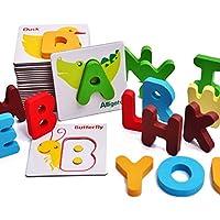 Rompecabezas de madera educativo para niños Juguete preescolar Abecedario ABC Tarjetas Cognitive Toys Animal Puzzle Juguetes