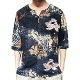 Cooljun Mens Ethnic Style Tie Dye Halbarm lässige Baumwolle Leinen Druck Shirt Bluse Dashiki Shirt Boho Top