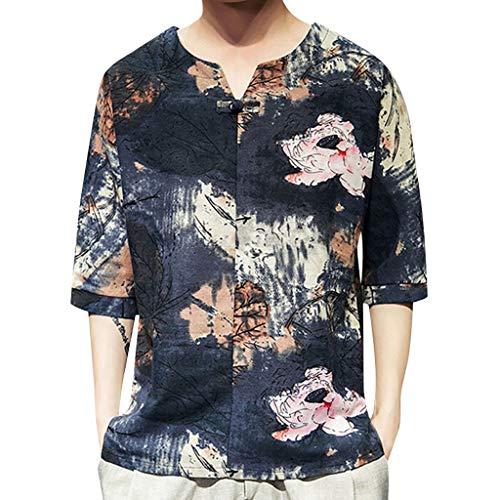 Cooljun Herren Gym Beast Muscle ShirtMens Ethnic Style Tie Dye Halbarm Lässige Baumwolle Leinen Druck Shirt Bluse