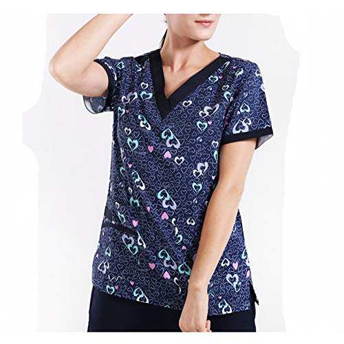CX ECO Medical Scrub Top Chirurgisches Kleid Persönlichkeit Druck Uniform Anti-Falten Breathable Workwear Revolution Frauen V-Ausschnitt Top + Pants,XL (Frauen Scrubs Uniformen)