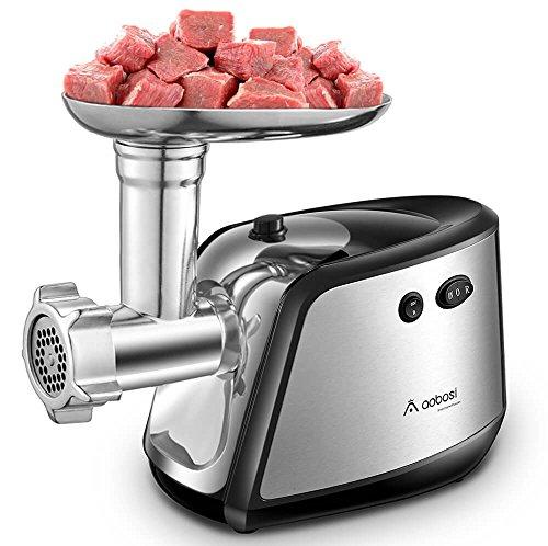 Aobosi Picadora Carne Picadora Electrica de Alimentos 1200w con 3 Acero Inoxidable Placas de Molienda Embutidora de Salchichas y Fabricante Kubbe