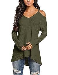 ACHIOOWA Donna Magliette Manica Lunga Maglie Collo V Nuovo Moda T-Shirt  Bluse Elegante Casual 8d70901257d