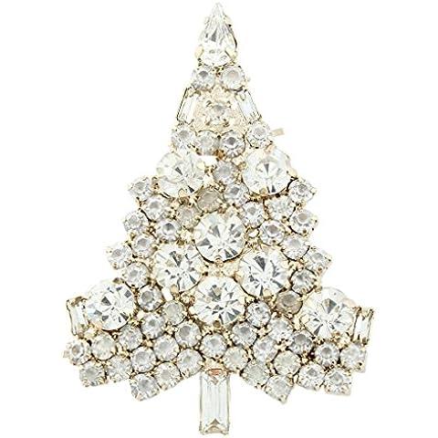 Ever Faith Albero di Natale Gold-Tone Art Deco Spilla di cristallo austriaca - Bianco A02355-2