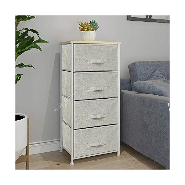 QIHANG-UK Grey Bedroom Dresser Tallboy Clothes Organizer Fabric Chest of 4 Drawers 45 * 30 * 94cm (002) QIHANG-UK Utility Storage Unit: this chest of drawers will help on improving the efficiency of space usage, make it easier for you to classify and storage stuff, it is suitable for both personal and family use Sturdy and Durable: solid metal frame and x-shaped bar behind ensure the stability, plastic caps on feet keep floor from scratches; upper 18mm wood board which is solid and simple to clean up; this storage unit is sturdy and durable Easy to assemble: with the aid of the included mounting accessories, the storage system with drawers can be built in 5-10 minutes 4