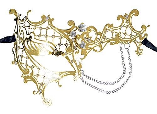 Halb Augenmaske Electra - Gold mit Strass und Kettchen - Traumhafte Maskerade für Kostümball, Maskenball und Fasching