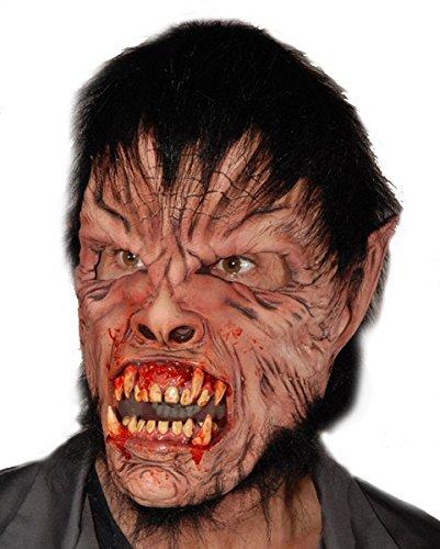 Manwolf Werwolf Maske mit Kunstfell für Halloween