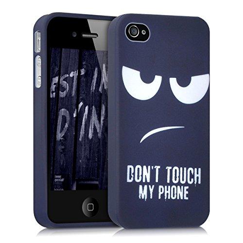 kwmobile Apple iPhone 4 / 4S Hülle - Handyhülle für Apple iPhone 4 / 4S - Handy Case in Weiß Dunkelblau (Handy-zubehör Für Iphone 4s)