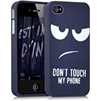 kwmobile Funda para Apple iPhone 4 / 4S - Case para móvil en TPU silicona - Cover trasero Diseño Don't touch my Phone en blanco azul oscuro