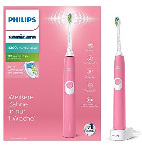 Philips Sonicare ProtectiveClean 4300 elektrische Zahnbürste HX6805/28 - Schallzahnbürste mit Clean-Putzprogramm, 2 Intensitäten, Andruckkontrolle & Timer - Pink