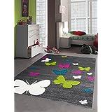 Diseño de la mariposa niños alfombra Juego niños de la alfombra alfombra con contorno cortó gris Rosa Turquesa Verde Crema Größe 120x170 cm