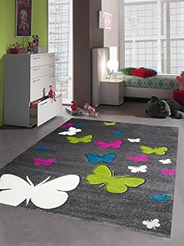 Kinderteppich Spielteppich Kinderzimmer Teppich Schmetterling Design mit Konturenschnitt Grau Pink Türkis Grün Creme Größe 160x230