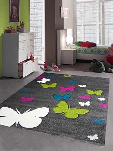 Kinderteppich Spielteppich Kinderzimmer Teppich Schmetterling Design mit Konturenschnitt Grau Pink Türkis Grün Creme Größe 160x230 cm