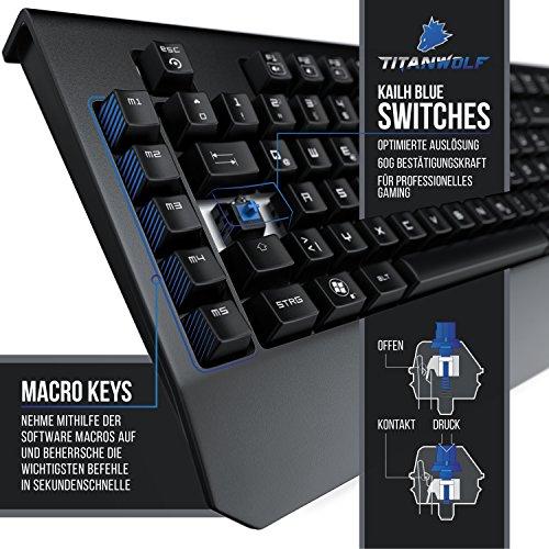 Ansicht vergrößern: Titanwolf - mechanische Tastatur mit Makro Tasten | Mechanical Gaming Keyboard