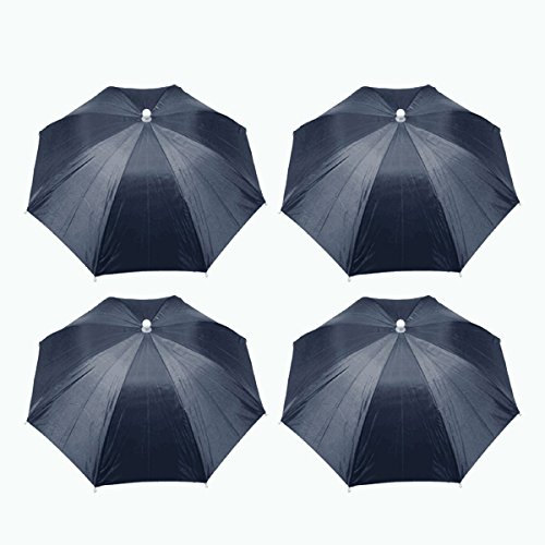 Saim 4Stück Polyester Angeln Regenschirm Hut Cap Hände Frei mit Kopf Gurt für Sonne Regen Navy Blau -