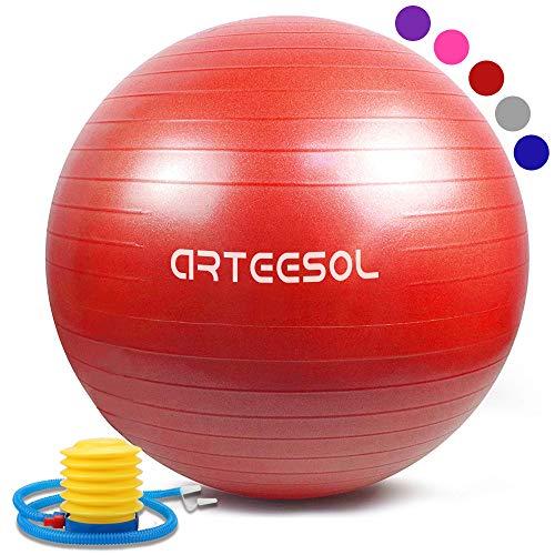Arteesol Gymnastikball, Balance Ball 45cm/55cm/65cm/75cm Yoga Ball mit Pumpe Anti-Burst Fitness Balance Ball für Core Strength (Rot, 65CM)