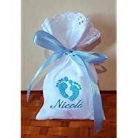 Crociedelizie, Stock 25 sacchetti bomboniere portaconfetti con ricamo nome bimbo bimba + piccolo ricamo piedini nascita battesimo