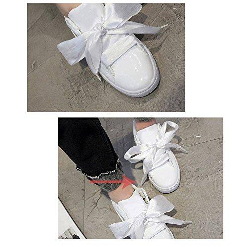 VANKER 120 CM Mode fantastique Multicolore Dentelles Satin Plat Lacets Blanc