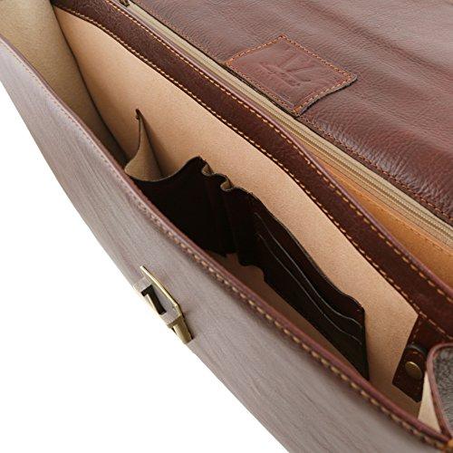 Tuscany Leather - PARMA - Aktentasche aus Leder 2 Fächer Dunkelbraun - TL141350/5 Schwarz