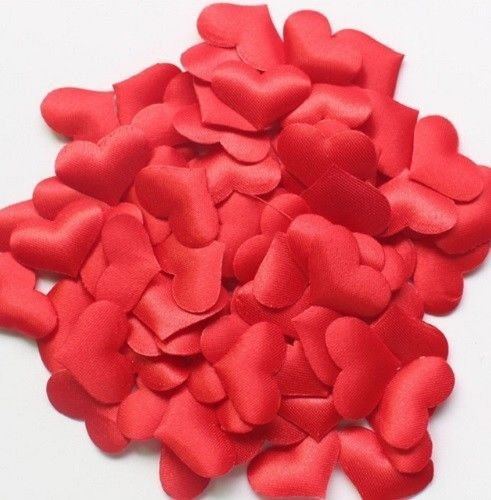 Takestop set 50 pezzi coriandoli coriandolo cuori 1.4 cm cuoricini rosso rossi tessuto stoffa confetti sposa bride gadget per tavolo tavoli borsa regalo scatola san valentino love proposta decorazione bomboniere