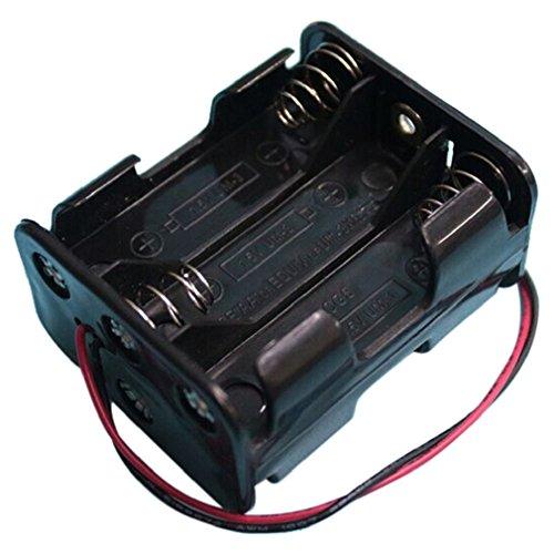 Preisvergleich Produktbild Tonsee 1 Stück neue 6 AA 2A Batterie 9V DIY Clip Halter Box Etui mit Draht führt Black heißen