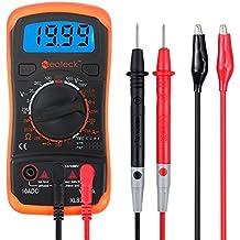 Neoteck Multimetro Digitale / Mini Multimetro Tester Misuratore Digitale Manual Range Test DMM DC Corrente AC DC Voltaggio Resistenza con LCD Retroilluminazione - Colore Arancione