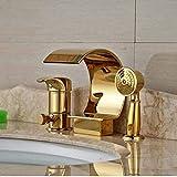 GHJGFGH Golden Messing Wasserfall Badezimmer Badewanne Wasserhahn Umsteller Mit Handsprüher Mixer