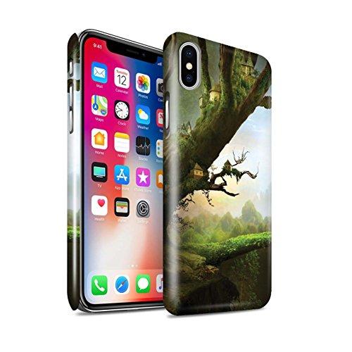 Offiziell Elena Dudina Hülle / Glanz Snap-On Case für Apple iPhone X/10 / Grünes Feld Muster / Fantasie Landschaft Kollektion Baum-Stadt
