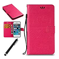 iPhone SE Flip Case,iPhone SE/5/5S Wallet Case,Beddouuk Elegant Elephant PU Leather Wallet Case with Card-Slot Kickstand and Magnetic Clip,Book Style Design Protective Folder Case Cover for iPhone SE/5/5S,#5 Red