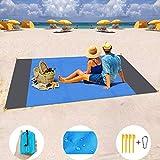 MILIER Coperta da Spiaggia Coperta da Picnic Impermeabile Tappetino da Picnic Resistente alla Sabbia con Ancora per Viaggi Campeggio Escursionismo 210cmx200cm
