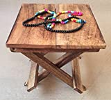 #4: D'Core Crafts Wooden Foldable Portable Stool/Chair For Kids - Handcrafted Decorative Mini Table - (12X9X2 Inches)