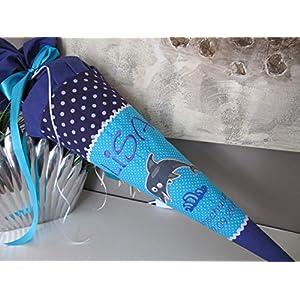 #181 Delphin lila türkis Delfin Schultüte Stoff + Papprohling + als Kissen verwendbar