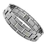 17MM Tungsten Carbide Bracelet with Laser Etching and 3 Diamonds 8.5""