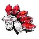 Homyl Hermosa Parche con Cuentas de Diamantes de Imitación Adorno de Apliques de Ropa - Rojo, 4.2 x 3.1cm