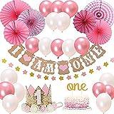 Queta Mädchen 1. Geburtstag Dekorationen Banner, I am eins Banner mit Stern, Papier Fan Blume, rosa und weißen Ballons, Cake Topper und Pailletten Krone Pink
