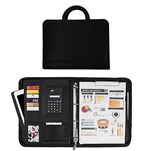 Schwarze Leder-patienten (Sysmarts Leder Schreibmappe A4 schwarz | Konferenzmappe | Dokumentenmappe mit Reißverschluss + Taschenrechner + Ringbuch | Organizer | Aktenmappe (Lederoptik Schwarz))