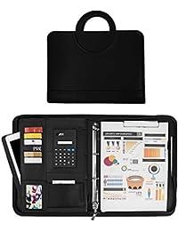 bddf2d1158 Sysmarts Cartella Portadocumenti con Calcolatrice Portablocco A4  Folder/Organizzatore Cartellina Porta Documenti in PU Cerniera