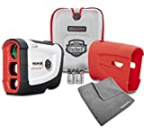 Bushnell Tour V4 Shift Patriot Pack BUNDLE | Includes Golf Rangefinder (Slope & Non-Slope Function) with Carrying Case, Red Protective Skin, PlayBetter Microfiber Towel and Two (2) CR2 Batteries