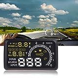 """KKmoon - HUD Head Up Display 5.5"""" Pantalla Digital Velocímetro Alarma de Velocidad OBDII Interfaz Proyector Parabrisas Soporta Consumo de Combustible para Coche"""