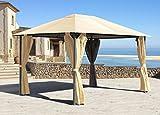 Pavillon Nizza 3x4m Sand mit 4 Seitenteile