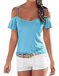 StyleDome Blusa Camiseta Casual Elegante Verano Playa Algodón Tirantes Mangas Cortas para Mujer