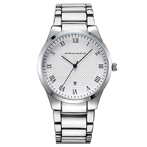 Herren Uhren,L'ananas High-Fashion Kalender Römische Zahlen Anolog Quarz Rostfreier Stahl Band Armbanduhren mit Geschenkbox Wristwatches (Silber+Weiß)