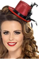 Smiffy's Mini Tophat Ribbon and Feather - Red/Black